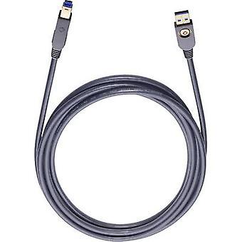 Cabo Oehlbach USB 3.0 [1x USB 3.2 Conector de 1ª Geração A (USB 3.0) - 1x USB 3.2 1º Genconnector B (USB 3.0)] 5,00 m Conectores pretos banhados a ouro