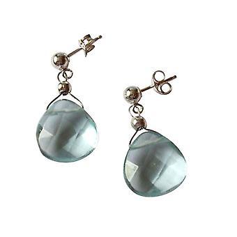 Gemshine - donne -orecchini - 925 argento - quarzo - sfaccettato - blu - 2 cm