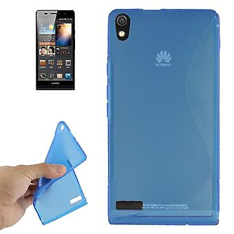 Mobile case TPU case for Huawei Ascend P6 blue