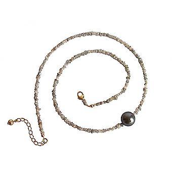 قلادة المرأة - الماس - الرمادي - اللؤلؤ - 45 سم