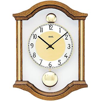 AMS 7447/4 wall clock quartz analog swing double pendulum wooden oak solid with glass