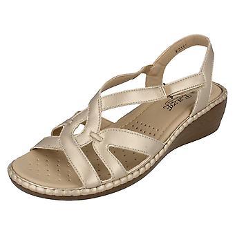 Ladies Eaze Wedge Sandals F3111 Light Gold Size UK 6