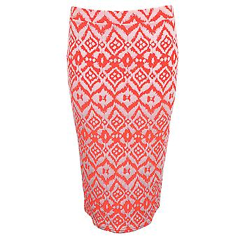 Ladies Pencil Florescent Pastel Aztec Graphic Stretch Bodycon Jersey Tube Skirt