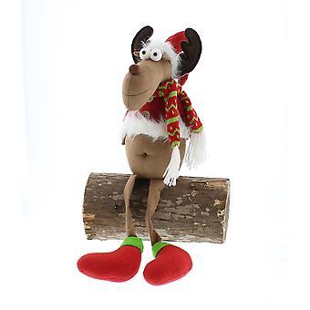 Festive Productions 67cm Standing White Fur Trim Reindeer Christmas Xmas Decoration