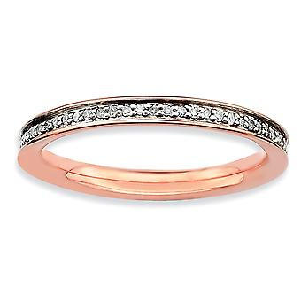 925 Sterling Silver Polished Prong set Stackable Expressions and Diamonds Pink plated Ring Jewelry Gifts for Women - Rin