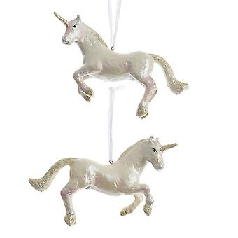 TRIXES Hanging Unicorn Xmas Resin Ornament Pearl Effect with Gold Glitter