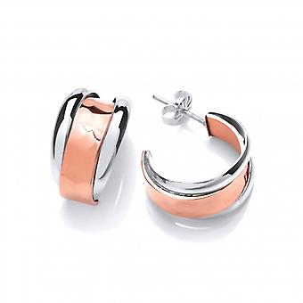 Cavendish French Silver and Hammered Copper Hoop Earrings