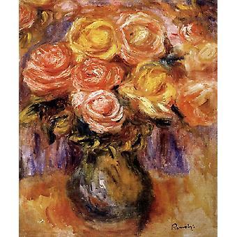 Vaas van rozen, Pierre Renoir, 37x 31,5 cm