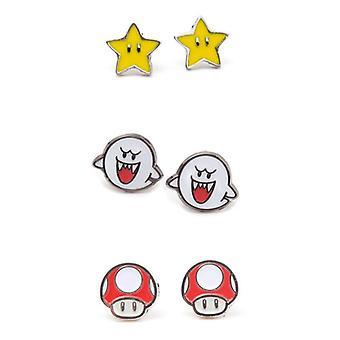 Zestaw Nintendo 3 pary kolczyków Studd Boo Superstar i grzyb (JS201606NTN)