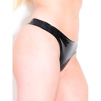 Honour Women's Latex Thong G String Red & Black Rubber Crotchless Panties