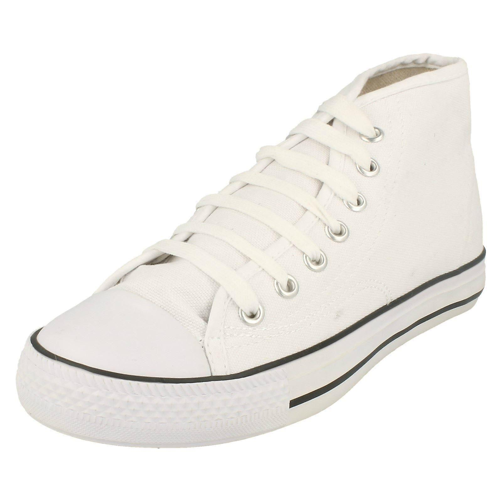 Ladies Spot On Hi-Rise Lace Up Canvas Pumps X0002