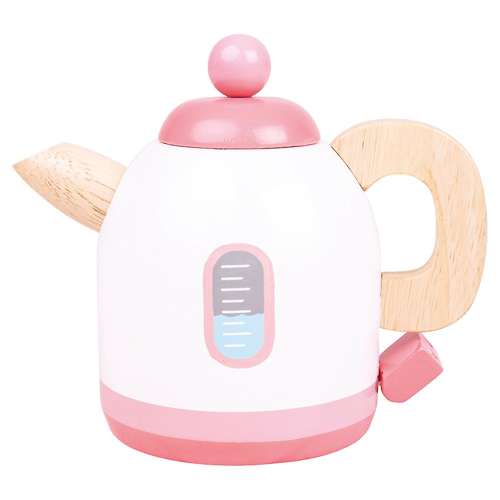 Bigjigs Toys Wooden Pink Kettle Pretend Play Kitchen Roleplay