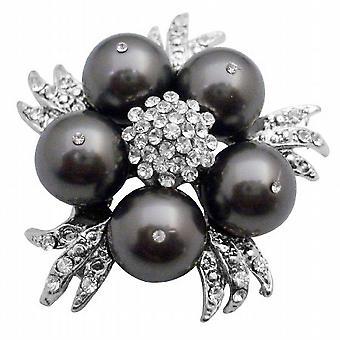 Entsprechen Sie Ihre Brosche w / Swarovski dunkel grau Kleid Perlen Brosche