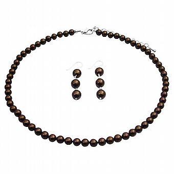 Brązowy BridesmaidSet perła z zwisające Kolczyki srebro Biżuteria
