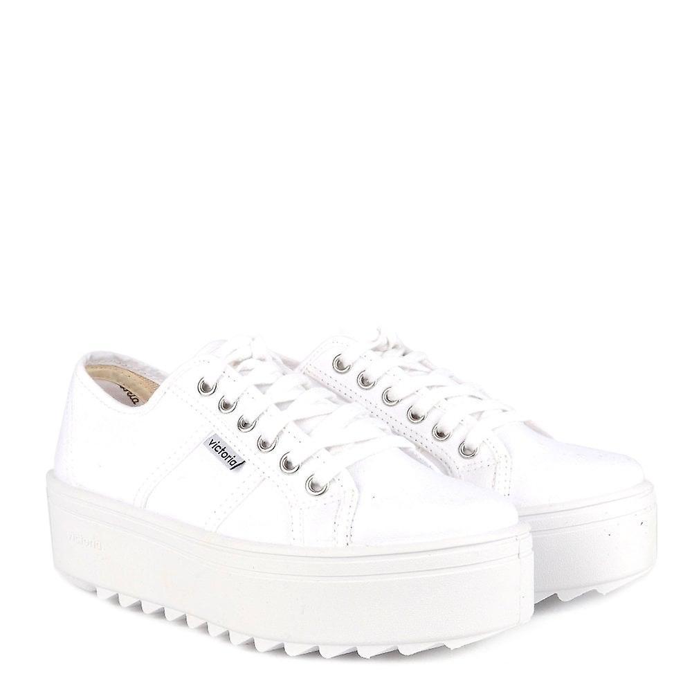Victoria chaussures Sierra toile blanche Platform Trainer - Remise particulière