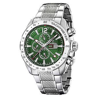 Festina | Mens Chronograph & Dual Time | Green Dial | Steel Bracelet F20439/3 Watch