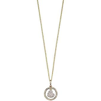 Elements Gold Swinging Heart Pendant - Yellow Gold/Silver