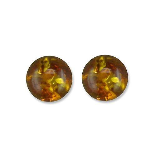 925 Sterling Silver Gorgeous Amber Ball Stud Earrings
