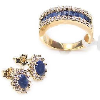 Ah! Joias genuínas precioso anel de safira & conjunto de parafusos prisioneiros