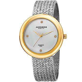 Akribos XXIV AK903TTG diamante ora marcatore oro tono acciaio Mesh Watch