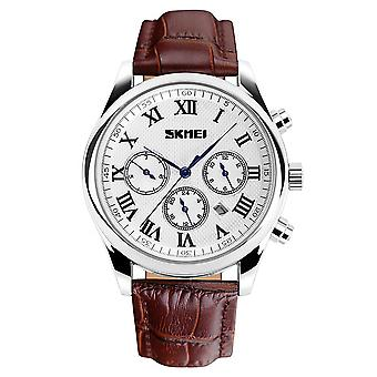 Skmei Luxury Men's Watch Polished Silver Roman Numerals Genuine Leather Strap SK9078