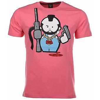 Camiseta de pistola humana-rojo