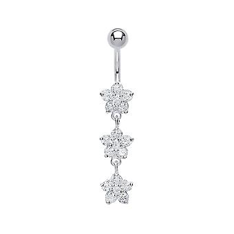 Jewelco London Surgical Steel Round Brilliant Cubic Zirconia Trilogy Flower Cluster Belly Bar With Silver Ball