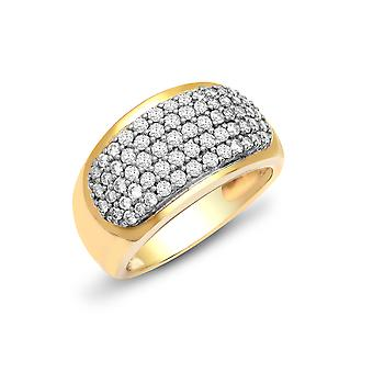 Jewelco London damer solid 9ct gul guld pave sæt runde H i1 1ct diamant Bombay evighed ring 11mm