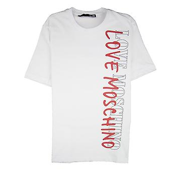 Love Moschino Overlap Script Logo camiseta blanca