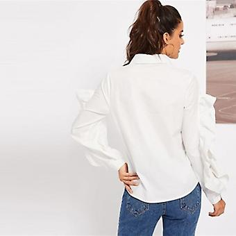 Ruffle Trim Button Up Open Sleeve Elegant  Blouse