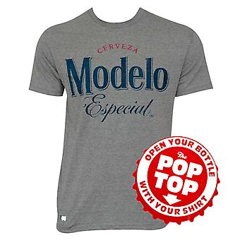 Modelo Grey Pop Top Bottle Opener Tee Shirt