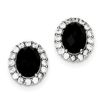 925 plata de ley negro CZ cubic Zirconia simulado diamante y blanco cúbico Zirconia Post pendientes regalos de joyería para W