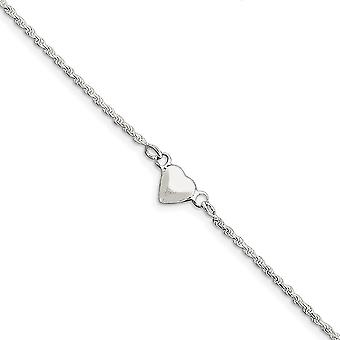 925 Sterling Silver Solid Hollow Polido Puffed Love Heart Anklet 9 Inch Spring Ring Jewely Gifts for Women