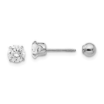 14k White Gold Polished Screw back Post Earrings 5mm CZ Cubic Zirconia Simulated Diamond and 4mm Ball Reversible Earring