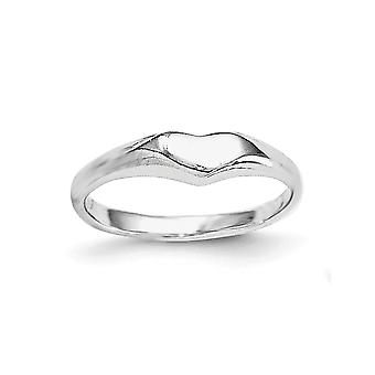 925 Sterling Silver Rh Plated for boys or girls Polished Love Heart Ring - Ring Size: 3 to 4