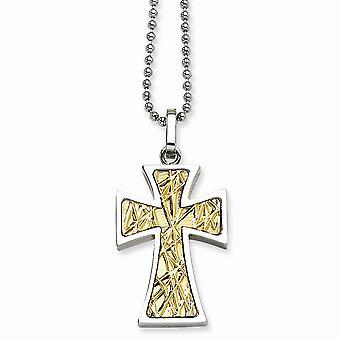 Colgante collar - 22 pulgadas de acero inoxidable pulido lujo langosta cierre 14k oro Cruz