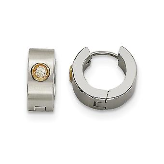 Stainless Steel Satin With CZ Cubic Zirconia Simulated Diamond and 14k Gold Plated Brushed Polished Hinged Hoop Earrings