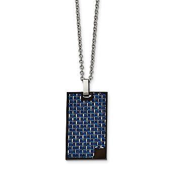 Edelstahl Ip schwarz beschichtet mit blauen Kohlefaser-Halskette - 22 Zoll