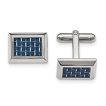 Stainless Steel Polished With Blue Carbon Fiber Cuff Links Jewelry Gifts for Men