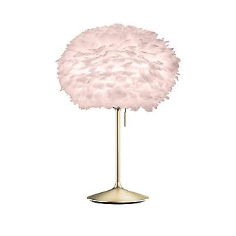 Umage Eos Table Lamp - Light Rose Feather Eos Medium/Brushed Brass Stand