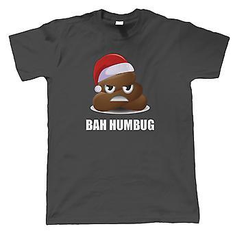 Bah Humbug Poo Emoji Mens T-Shirt   Christmas Xmas HoHoHo Season Greetings Merry   Lights Decorations Santa Claus Reindeer Rudolf   Christmas Gift Him Dad