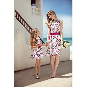 White floral matching dress set
