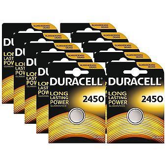 10 x Duracell CR2450 3V Lithium Coin Cell Battery 2450 DL2450 K2450L
