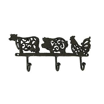 Rustic Brown Cast Iron Pig Rooster Cow Triple Wall Hook Rack Farmhouse Decor