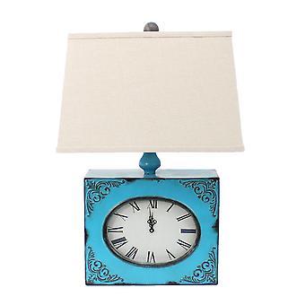 "7"" x 7"" x 22"" Blue Vintage Metal Clock Base - Table Lamp"