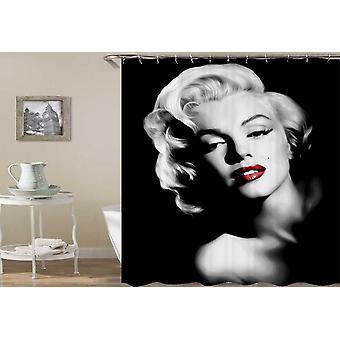Rojo Labios Negro y Blanco Marilyn Monroe Cortina de Ducha