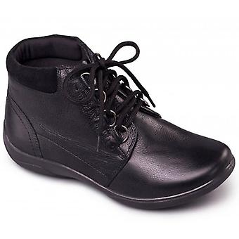 Padders Journey Ladies Leather Extra Wide (2e/3e) Boots Black
