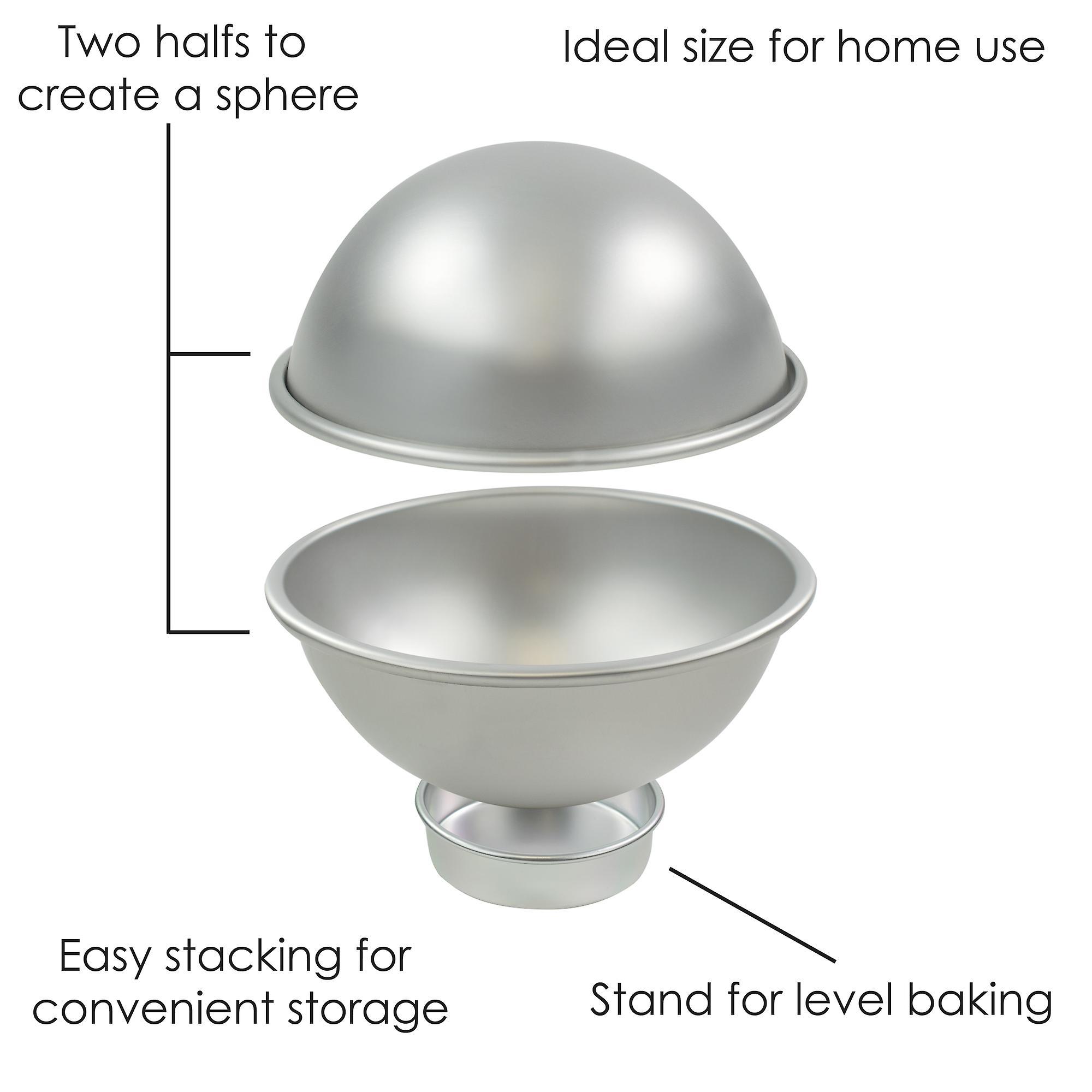 TRIXES Sphere Cake Tin 6 inch Sports Ball Set Create 3D Cake Tennis Basket Football Tin Sponge Pan Novelty Ball Cakes