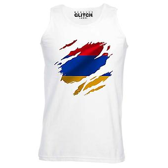 Reality glitch torn armenia flag mens vest