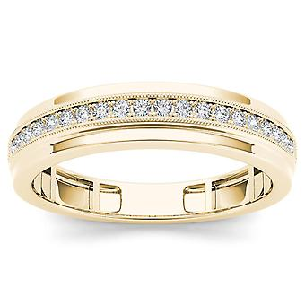 IGI Certified Solid 10k Yellow Gold 0.25 Ct Diamond Men's Wedding Band Ring